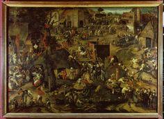 Piter Balten. Een opvoering van de klucht 'Een clyte van Plaeyerwater op een vlaamse kermis. 1540