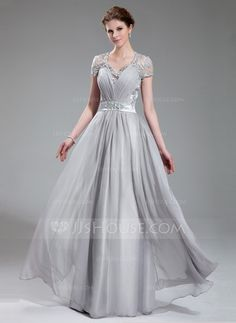 A-Line/Princess V-neck Floor-Length Chiffon Charmeuse Evening Dress With Ruffle Lace Beading (017019722) - JJsHouse