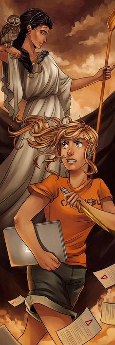 Annabeth Chase and Athena. Ah this is so cool! <<< for some reason I didn't notice the bottom of the dagger and thought she was holding a sonic screwdriver