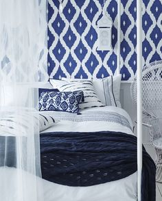 A touch of Moroccan Magic from Sainsburys Home - considering this Kelly Hoppen ikat wallpaper for the guest bedroom. Plus the embroidered bedding. So crisp and fresh looking. Blue Bedroom Ideas For Couples, Wallpaper Bedroom, Sainsburys Home, Blue Bedroom Decor, Greek Bedroom, Guest Bedroom Decor, Bedroom Diy, Bedroom Green, Blue White Bedroom