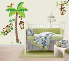 JUNGLE WALL DECAL FOR JUNIOR - Jungle Monkeys and Tree Giant Baby/Nursery Wall Sticker Decals for Boys and Girls