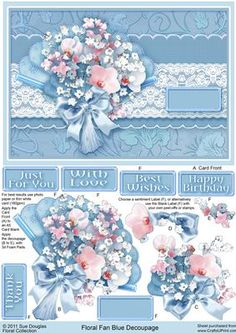 Floral Fan Blue Decoupage on Craftsuprint designed by Sue Douglas - This decoupage sheet, is from my Floral Collection of designs. The main design features a Pale Blue Fan with pretty Pink and White Flowers, with a pretty floral background and a lace border, that will fit a A5 card blank. Various sentiments are included to add to the design, together with a blank label to use with your own peel-offs or stamps, making this design just perfect, for any female occasion! Full instructions are…