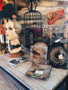 Absinthe boutique: a great display of vintage items that are fun.
