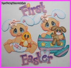 Premade Paper Pieced First Easter Set for Scrapbook Pages-by Babs
