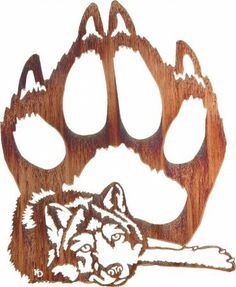 "I want this!! Lazart Wall Decor via Amazon.com - 24"" Lazy Days (Wolf and Paw Print) Wall Art"