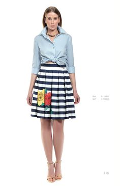 A cute party skirt paired with a denim shirt is all you need for a chic workwear outfit!