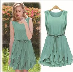 Free Shipping 2013 new Women Slim fashion Sexy Flouncing vest chiffon dress Color : green , sapphire blue Sizes: S , M , L $21.82