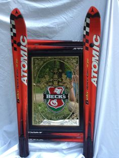 Atomic Skis with Becks Beer Mirror in its Original Finish made in Vermont and handcrafted out of Recycled Skis