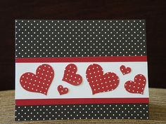 hand made Vlentine/heart crd from My Paper Paradise ...: Not a stamp in sight ... red, white and blacke ... polka dots ... punched hearts ... geat card ...