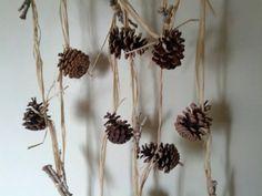 Wedding Garland Pinecone Forest White Birch Twig by kzannoart