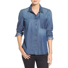 Women's 7 For All Mankind Shadow Pocket Denim Shirt ($199) ❤ liked on Polyvore featuring tops, shadow sky, pocket denim shirt, long sleeve shirts, blue top, denim shirts and lightweight shirt