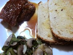 roast pork belly in caramel vinegar with chinese greens... :P