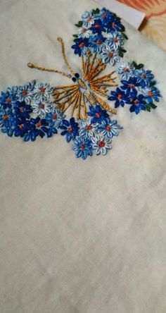 Most recent Absolutely Free butterfly Embroidery Designs Style Easy hand embroidery lazy daisy stitching butterfly Butterfly Embroidery, Silk Ribbon Embroidery, Crewel Embroidery, Vintage Embroidery, Embroidery Thread, Cross Stitch Embroidery, Embroidery Tattoo, Embroidered Butterflies, Brazilian Embroidery Stitches