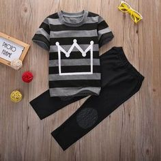 2016 New Summer Baby Toddler Kids Boys Clothes Tops Pants Outfits Tracksuit set Baby Boy Fashion, Toddler Fashion, Fashion Kids, Style Fashion, Spring Fashion, Pants Outfit, Outfit Sets, Baby Boy Outfits, Kids Outfits