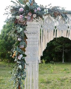 Our delicately handwoven Macrame Wedding Arbour  With the most beautiful section of florals by @ellee_jay_floristry We have a complete wooden arbour and backdrop available for local hire, along with a backdrop that can be hired Australia wide. See our website on contact us for enquiries x