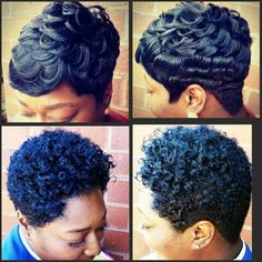 Relaxed hair set on rods for the natural look.