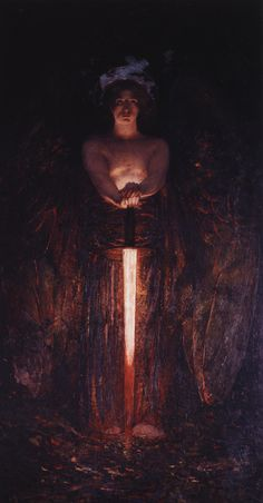 "art-and-fury: "" The Angel with The Flaming Sword - Edwin Howland Blashfield "" Traditional Paintings, Traditional Art, Rembrandt, Flaming Sword, Art Noir, Renaissance Kunst, Arte Obscura, Ange Demon, Mystique"