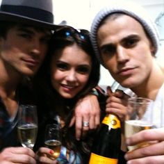 Ian Somerhalder - 10/03/17 - My undead brothers... I thought vampires weren't supposed to age. Lol. We definitely don't look the same after 8 years, but the make up helped. Raising a glass to celebrate 8 wonderful seasons together, it has been such a beautiful (and liver damaging) adventure knowing you all. Cheers family. ❤ #TVDForever https://www.instagram.com/p/BRe3XM-AsVj/?taken-by=nina - Twitter / Instagram Pictures