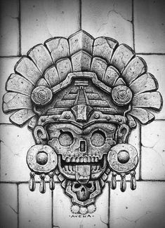 aztec Black & Grey's Finest by Big Gus Mayan Tattoos, Mexican Art Tattoos, Chicano Drawings, Chicano Art, Opa Tattoo, Aztec Drawing, Chicano Style Tattoo, Aztec Tattoo Designs, Native Tattoos