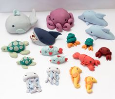 Fondant sea creature cake toppers  Ready to by SeasonablyAdorned