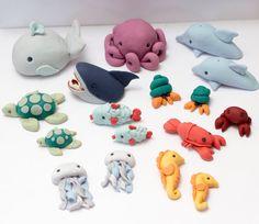Fondant sea creature cake toppers  Ready to by SeasonablyAdorned