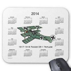 Vintage 2014 Airplane Calendar Mouse Pad Design from Calendars by Janz