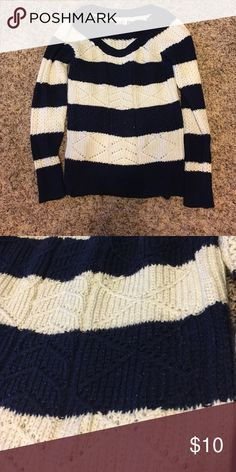 Navy Striped Sweater Cute and cozy navy and off white (with a bit of sparkle) sweater. In excellent condition! 90% acrylic, 8% polyester, 2% other fiber. SO Sweaters