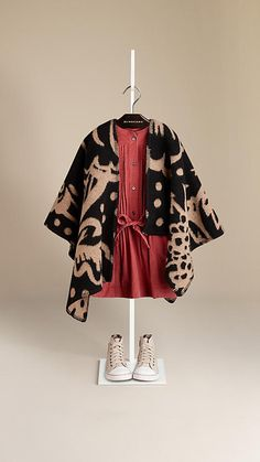 Poncho con patrón de cardos en lana y cachemir | Burberry