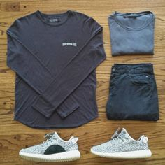 350 boost and simple outfit with long sleeve #ootd #outfitgrid #menstyle #fashionmen