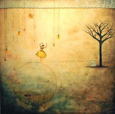 "Mimaamakim (From The Depths) by Nava Waxman, 2009. Mixed media, encaustic on wood panel, 60""x60"" http://www.navawaxman.com/"