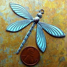 Patina Dragonfly Charm 1 pc Large Brass Dragonfly by PatinaQueen