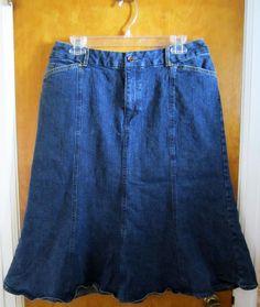 KATE HILL Casual Denim Skirt SIZE 10 Fit Flare Mid Calf MODEST ALine  #KateHill #ALine #backtoschool #freeshipping #makeoffer #bestoffer #fashion #modestfashion #modest #modesty
