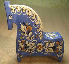 A handmade wooden horse with folk Northern painting is one of the traditional Russian toys. Wooden Horse, Wooden Art, Norwegian Rosemaling, Russian Folk Art, Scandinavian Folk Art, Creation Deco, Mid Century Art, Mexican Folk Art, Primitives