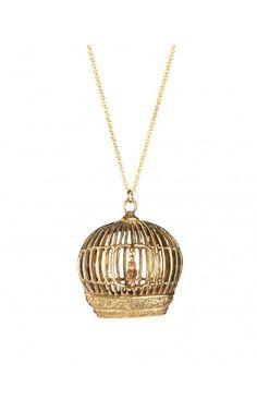Caged Brass Bird Necklace