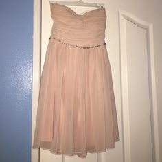 Blush Chiffon Ballerina Dress Short chiffon zip-up ballerina dress with sparkle bust. Only worn for two school events/dances, great condition! Size Small Foreign Exchange Dresses Strapless