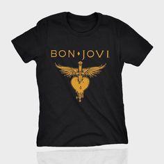 faca7c5f08 Camiseta bon jovi feminina forever preta dourada camisa rock