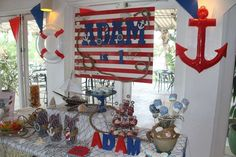 Nautical birthday party! See more party planning ideas at CatchMyParty.com!