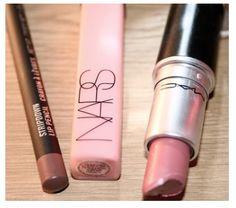 Kim Kardashians nude lip essentials, MAC stripdown, MAC Angel lipstick, NARS Turkish delight