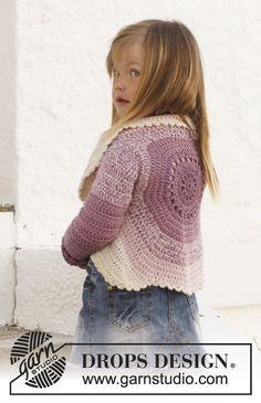 "Crochet DROPS circle jacket in 2 strands ""BabyAlpaca Silk"". Size 3 - 12 years. ~ DROPS Design"