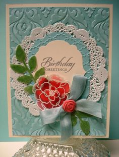 Wow swap created by me (Annette John) for 2013 Stampin' Up! convention. Watercolor on embossed vellum.