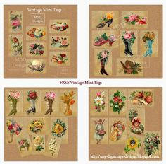 My Digiscraps Designs: Free Vintage Mini Tags