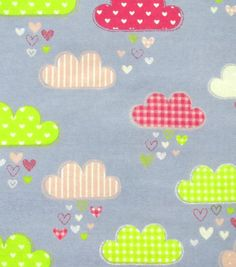 Snuggle Flannel Fabric Happy Clouds