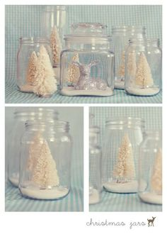 trees in jars maybe glitter house jars