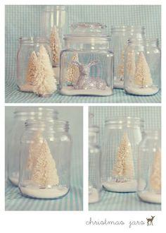 trees in jars maybe glitter house jars