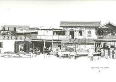 Architectural Sketch, Shophouse, Luang Prabang ink on paper