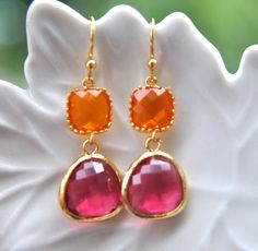 Indian Hot Pink and Orange Earrings in Gold Earwires - Bridal Jewelry, $24.00, via Etsy.