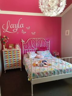 Pink Accent Walls, Pink Accents, Color Rosa, Tween, Paint Colors, Amber, Toddler Bed, Room Decor, Interiors