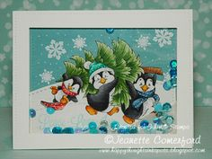 *NEW Penguins Carry the Tree [C1228] - $8.50 : Whimsy Stamps