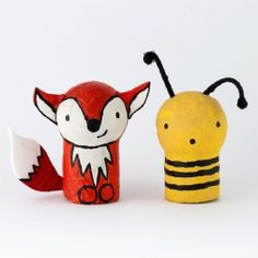 Make these cuter than cute wine cork and styrofoam ball animals: fox, sheep, frog, owl and bee in the set. Pocket Pals.