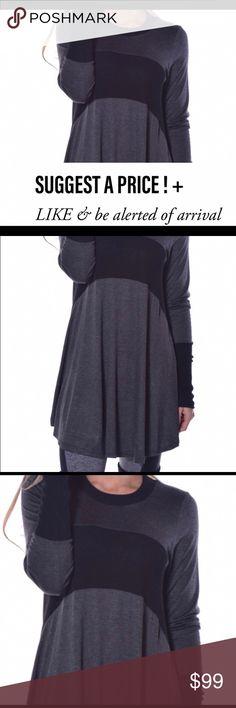 ❤️Two Tone (Black & Gray) Tunic Soft & Cozy. 95% Viscose. 5% Spandex. Made in USA Tops Tunics